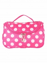 Portable Cosmetic Bag Satin Makeup Storage Dot Print Travel Toiletry Bags