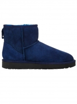 Blue Women Winter Fashion PU Leather Slip-on Ankle Length Snow Boots