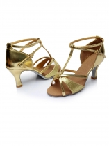 Gold Women Latin Tango Dance Shoes Vintage Style High Heel 5cm Ballroom