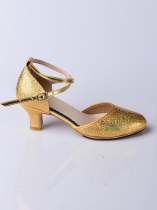 Gold Women Shinny Latin Dance Shoes Ballroom Dancing High Heel 5.5cm