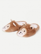 Women Cute Lion Shape Decor Slippers Faux Fur Plush Indoor Slippers