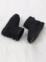 Black Children Suede Snow Boots Ankle Length