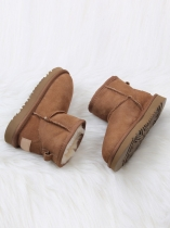 Brown Children Suede Snow Boots Ankle Length