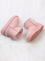 Pink Children Suede Snow Boots Ankle Length