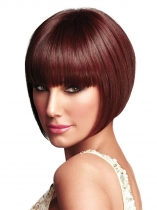 Women Ladies Bob Pixie Boycut Wispy Straight Wine Red Boycuts Short Hair Full Wig