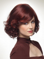 Women Ladies Fashion Curly Wine Red Short Hair Full Wig