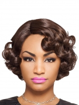 Women Ladies Fashion Curly Brown Short Hair Full Wig