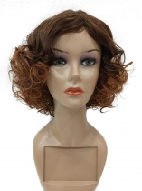 Women Ladies 1920s Vintage Style Curly Brown Short Hair Full Wig