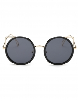 Hot Fashion Retro Women Round Slim Metal Frame UV Proteção Óculos de sol