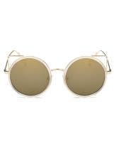 Fashion Retro Women Round Slim Metal Frame UV Protection Sunglasses