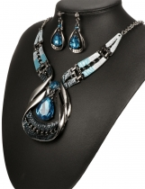 Chic Modern Art Crystal Water Drop Gemstone Necklace & amp; amp; Ensemble boucles d'oreilles