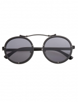 Black Retro Studded Detail Round Lens Sunglasses