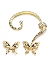 Rhinestone Embellished Butterfly Shape Ear Cuffs
