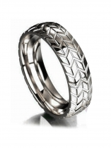Unisex Polished Truck Tire Carved Pattern Band Ring