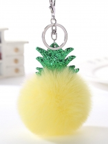 Cute Faux Fur Sequined Pineapple Pandent Keychain Key Ring w/ Hook Key Bag Decor