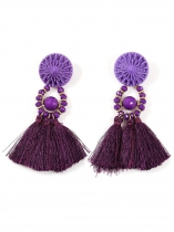 Novas jóias de moda feminina Trendy Crystal Rhinestone Long Tassel Dangle Boho Fringe Drop Earrings