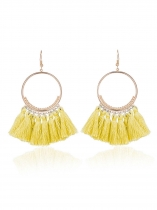 Moda Feminina Bohemian Long Tassel Ring Hook Dangle Earrings
