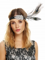 Women Vintage Style Rhinestone Party Feather Headband