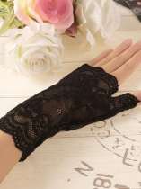 Frauen Outdoor Lace Fingerless Thin Anti Sun Handschuhe