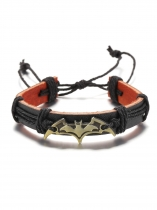 Vintage Style Punk Charm Jewelry Bat Leather Bracelet Bangle