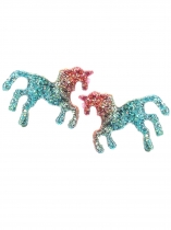 Unisex Fashion Gradual Change Colorful Horse Era Stud Earrings Jewelry