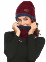 Women Fleece Contrast Color Beanie Knitted Warm Winter Hat