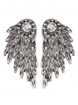 Dark silver Women Fashion Rhinestone Wing Ear Stud Earrings