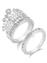 Silver Rhinestone Shiny Knuckle Rings Fashion Jewelry for Women