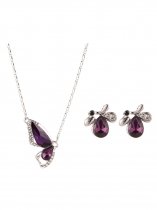 Crystal Rhinestone Pendant Necklace Drop Earring Bracelet Set Jewelry