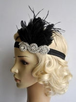 Mulheres Vintage Style Rhinestone Party Feather Flapper Headband