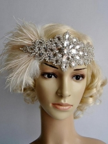 Mulheres Vintage Style Rhinestone Party Feather Headband Flapper Headpiece