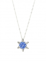 Blue Women Zircon Snowflake Pendant Alloy Chain Necklace Jewelry