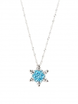Sky blue Women Zircon Snowflake Pendant Alloy Chain Necklace Jewelry