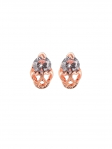 Fashion Zircon Decor with Hollow Out Skull Shape Pendant Stud Earring Jewelry