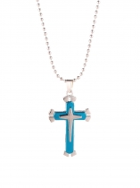 Blue Unisex Titanium Steel Three Layer Cross Pendant with Bead Chain Necklace Jewelry