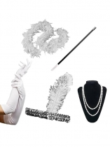 1920s Flapper Set Costume Accessory Headband Boa Necklace Gloves Long Cigarette Holder