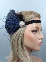 1920s Women Vintage Style Party Rhinestone Feather Headband Flapper Headpiece