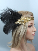 1920s Women Vintage Style Party Sequin Feather Headband Flapper Headpiece