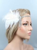 1920s Women Vintage Style Party Rhinestone Feather Flapper Headband Bridal Headpiece