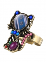 Blue New Women Fashion Casual Adjustable Small Cat Shape Jewelry Ring