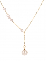 Golden New Fashion Women Artificial Pearl Charm Chain Pendant Jewelry Necklace
