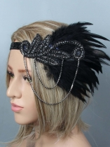 1920s Women Vintage Style Party Rhinestone Feather Flapper Headband Headpiece