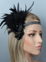 1920 ые женщины Vintage Style Party Crystal Fringe Feather Flapper Headband Headpiece