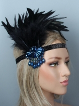 1920s Women Vintage Style Party Crystal Fringe Feather Flapper Headband Headpiece