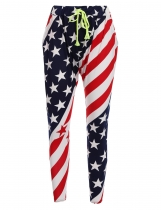 Blue Star Striped American Flag Printed Elastic Waist Drawstring Pants