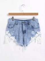 High Waist Lace Patchwork Burrs Hem Frayed Denim Shorts