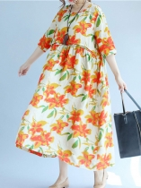 White Orange Floral Print Half Sleeve Linen Loose Dress