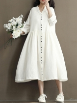 White V-Neck Long Sleeves Solid Button Shirt Loose Dress