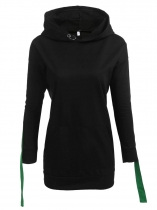 Women Casual Long Sleeve Drop Shoulder Hooded Sweatshirts Pullover Hoodie