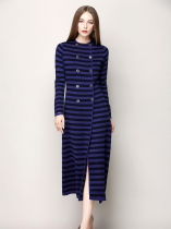 Azul O-Neck Stripes Knitting Button Vestido Manga comprida manga